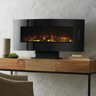 42 in. W Contemporary Curved Front Slim Line Wall Mount Infrared Electric Fireplace in Black