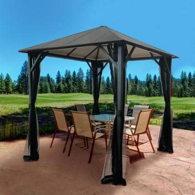 8 ft. x 8 ft. Insulated Aluminum Outdoor Patio Gazebo with Aluminum Roof and Netting