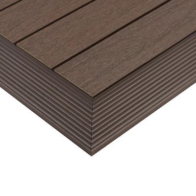 1/6 ft. x 1 ft. Quick Deck Composite Deck Tile Outside Corner Fascia in Spanish Walnut (2-Pieces/Box)