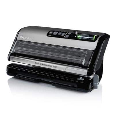 2-in-1 Black/Stainless Steel Vacuum Sealer System with Starter Kit