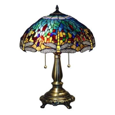Tiffany Blue Dragonfly 23 in. Bronze Table Lamp