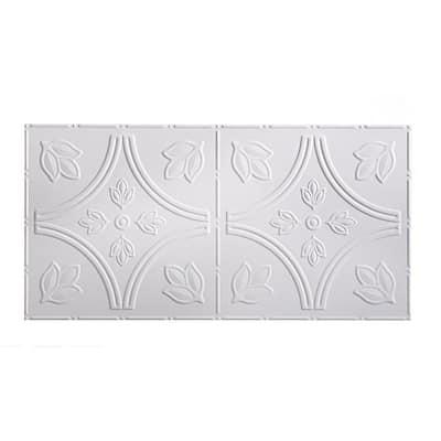 Traditional #5 2 ft. x 4 ft. Glue Up Vinyl Ceiling Tile in Matte White (40 sq. ft.)