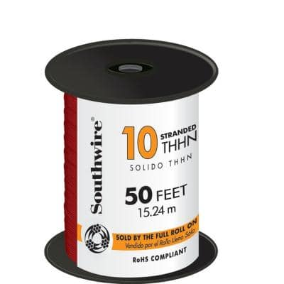 50 ft. 10 Red Stranded CU THHN Wire