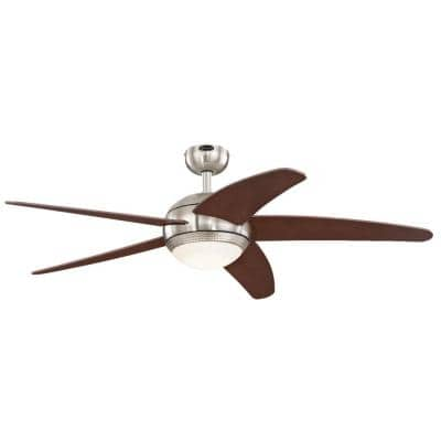 Bendan LED 52 in. LED Brushed Nickel with Hammered Accents Ceiling Fan