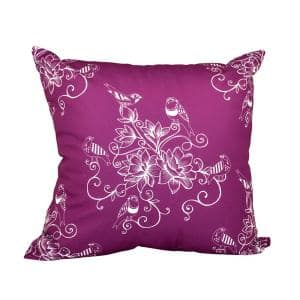 Morning Birds Purple Floral 16 in. x 16 in. Throw Pillow