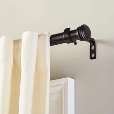 Mix and Match 72 in. - 144 in. Single Curtain Rod in Matte Black