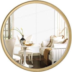 Modern 18 in. x 18 in. Round Frame Gold Wall Mirror