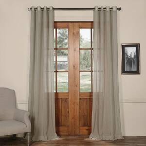 Paris Grey Solid Grommet Sheer Curtain - 50 in. W x 108 in. L