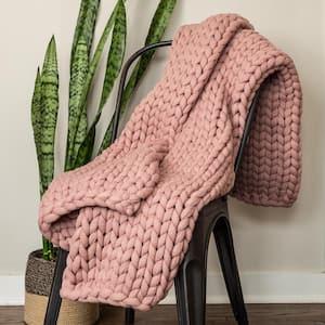 Chunky Knitted Mauve Acrylic Throw Blanket