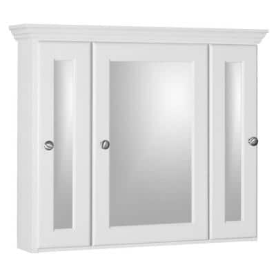 Ultraline 30 in. W x 27 in. H x 6-1/2 in. D Framed Tri-View Surface-Mount Bathroom Medicine Cabinet in Satin White