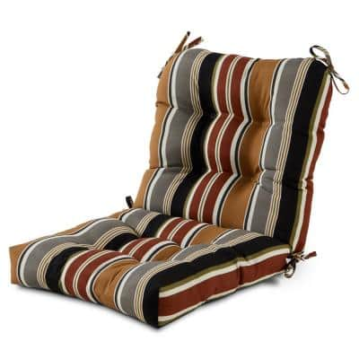 21 in. x 42 in. Outdoor Dining Chair Cushion in Brick Stripe