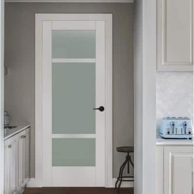 32 in. x 80 in. MODA Primed PMT1031 Solid Core Wood Interior Door Slab w/Translucent Glass