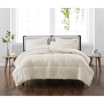Solid Ivory Full/Queen 3-Piece Comforter Set