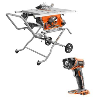 10 in. Pro Jobsite Table Saw with Stand and 18-Volt Torch Light