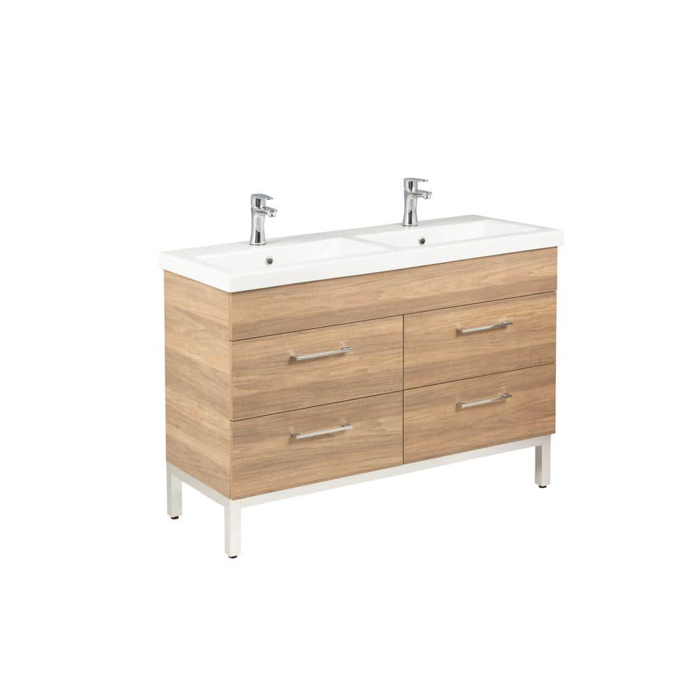 Empire Industries Infinity 48 In W X 18 In D Double Bath Vanity In Oregon Ash With Ceramic Vanity Top In White Dk48 04ioa1 The Home Depot