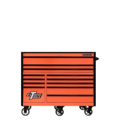 RX 55 in. 12-Drawer Roller Cabinet Tool Chest in Orange with Gloss Black Handles and Trim