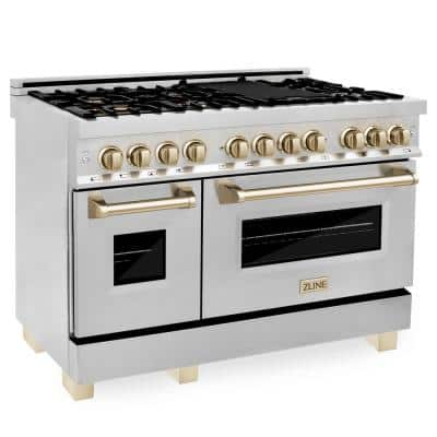 Autograph Edition 48 in. 6.0 cu. ft. Dual Fuel Range with Gas Stove and Electric Oven in Stainless Steel