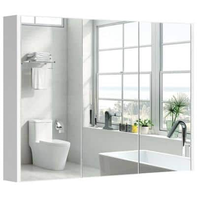 36 in. W x 25.5 in. x 4.5 in. Rectangular Wall Mount Bathroom T Medicine Wall Cabinet with 3 Mirrors