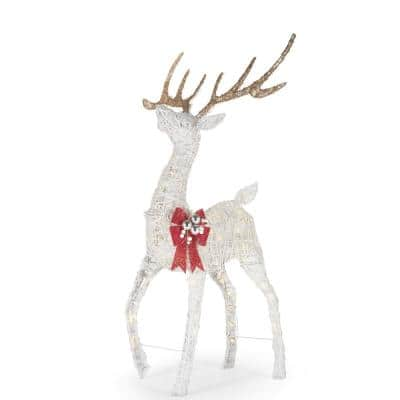 55 in. White PVC Plug-in Christmas Yard Sculpture Polar Wishes LED 120-Light Deer with Bow