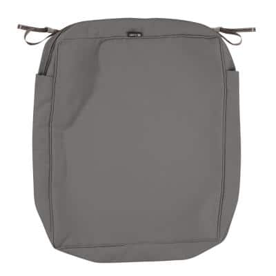 Montlake FadeSafe 25 in. W x 27 in. D x 5 in. H Rectangular Patio Seat Cushion Slip Cover in Light Charcoal Grey