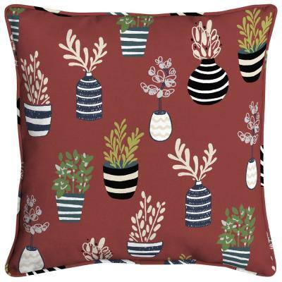 Allover Succulents Square  Welted Outdoor Throw Pillow (2-Pack)