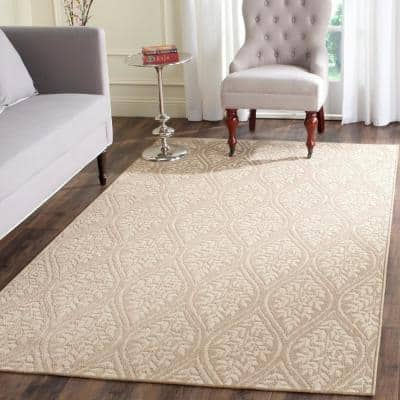 Palm Beach Sand/Natural 8 ft. x 10 ft. Floral Area Rug