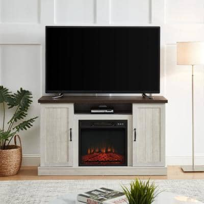 48 in. W Freestanding Wooden Storage Electric Fireplace TV Stand in White Fits TVs up to 55 in.