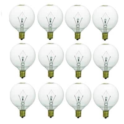 25-Watt G16.5 Globe Candelabra Base E12 Base Incandescent Clear Light Bulb in Warm White 3200K (12-Pack)