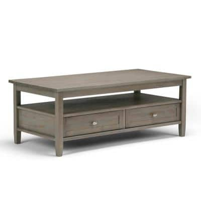 Warm Shaker 48 in. Distressed Gray Large Rectangle Wood Coffee Table with Drawers
