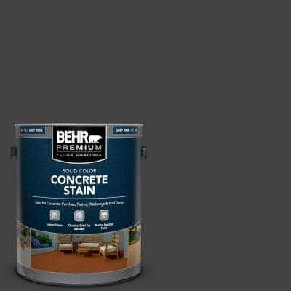 1 gal. #PFC-75 Tar Black Solid Color Flat Interior/Exterior Concrete Stain