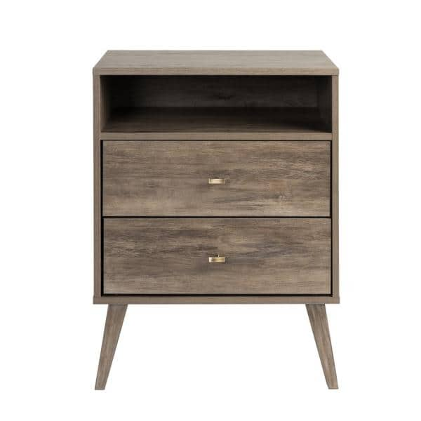 Prepac Milo Mid Century Modern 2 Drawer Drifted Gray Tall Nightstand With Open Shelf Ddnr 1401 1 The Home Depot