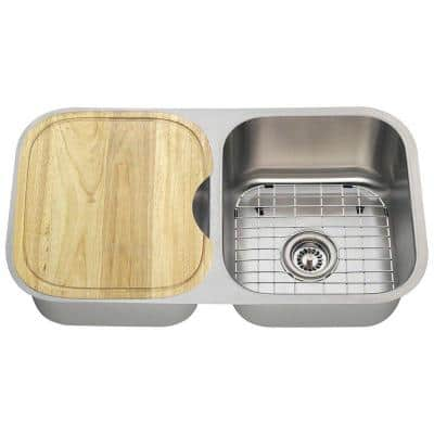 Undermount Stainless Steel 33 in. Double Bowl Kitchen Sink Kit