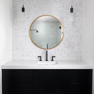 Medium Round Gold Shelves & Drawers Modern Mirror (20 in. H x 20 in. W)