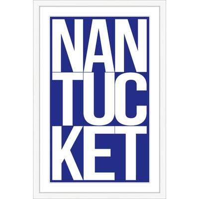 """20 in. x 30 in. """"Nantucket in Navy"""" Framed Giclee Print Wall Art"""