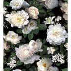 Black Photographic Floral Vinyl Peel & Stick Wallpaper Roll (Covers 60 Sq. Ft.)