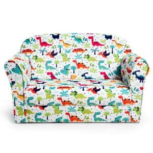 Double Kids Dinosaur Sofa Children Armrest Couch Upholstered Chair