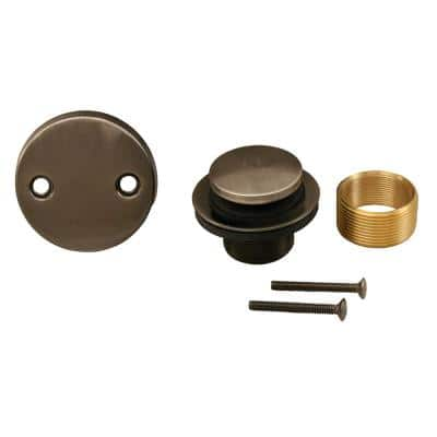 Toe Touch Bath Tub Drain Conversion Kit with 2-Hole Overflow Plate in Antique Pewter