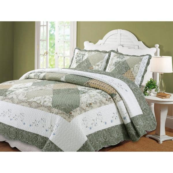 Mauve Queen Size Floral Quilt in Earthtones Green and Beige
