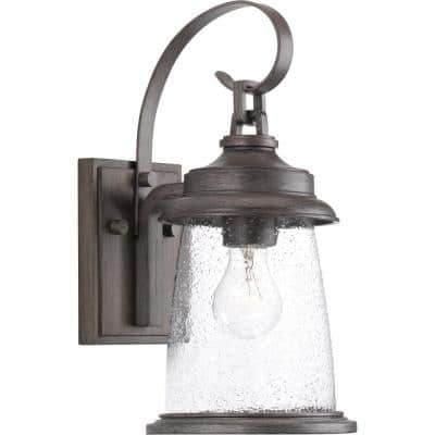 Conover Collection 1-Light Antique Pewter Clear Seeded Glass Farmhouse Outdoor  Wall Lantern Light