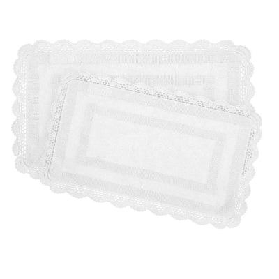 Crochet 100% Cotton 17 in. x 24 in./21 in. x 34 in. 2-Piece Bath Rug Set in White