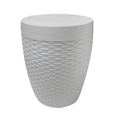 Round Bath Bin in White