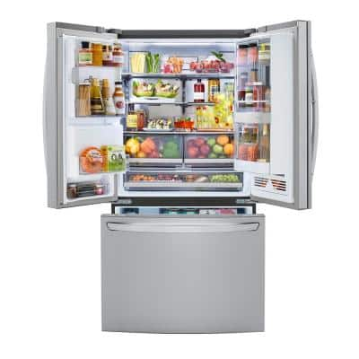 23.3 cu. ft. French Door Smart Refrigerator, InstaView, Dual & Craft Ice, PrintProof Stainless, Counter Depth