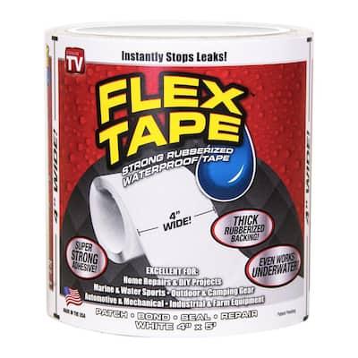 Flex Tape White 4 in. x 5 ft. Strong Rubberized Waterproof Tape