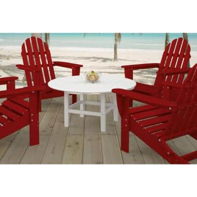 White 38 in. Round Patio Conversation Table