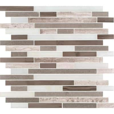 Arctic Storm Interlocking 12 in. x 12 in. x 10 mm Honed Marble Mesh-Mounted Mosaic Tile (10 sq. ft. / case)