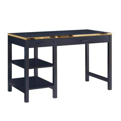 47 in. Black and Gold Plated Finish Writing Desk with 2 Open Shelves and 2 Top Drawers