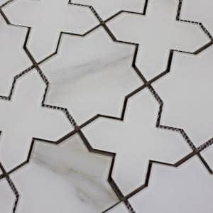Handmade Décor Calacatta White Marble Look Celestial Waterjet 6 in. x 6 in. Glossy Glass Mosaic Tile (0.51 Sq.Ft)