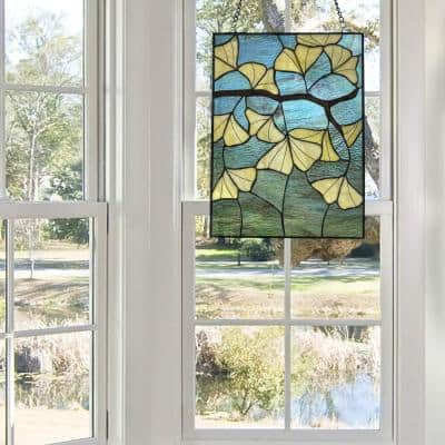 Multi-colored Ginkgo Leaf Stained Glass Window Panel