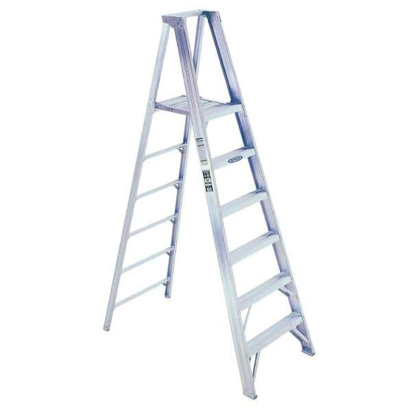Werner 14 Ft Reach Aluminum Platform Step Ladder With 375 Lb Load Capacity Type Iaa Duty Rating P408 The Home Depot