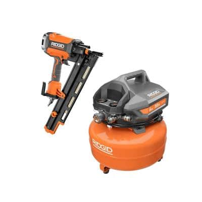 6 Gal. Portable Electric Pancake Air Compressor with Pneumatic 21-Degree 3-1/2 in. Round Head Framing Nailer